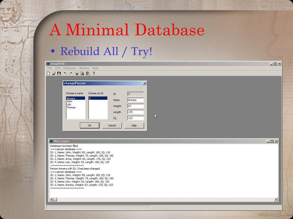 A Minimal Database Rebuild All / Try!