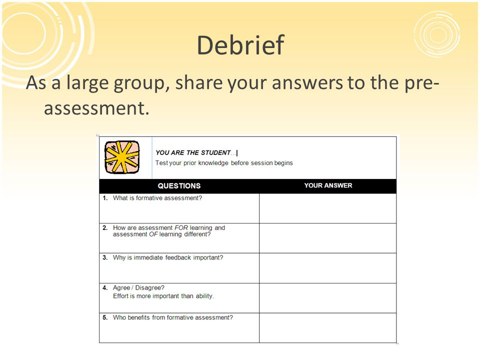 Debrief As a large group, share your answers to the pre- assessment.