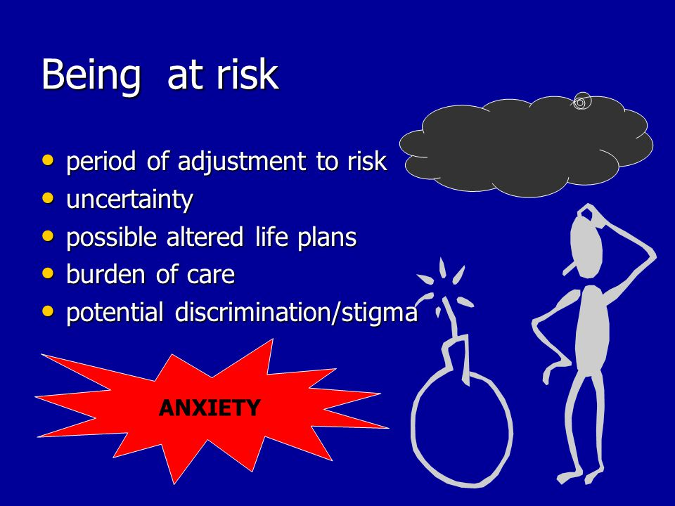Being at risk period of adjustment to risk period of adjustment to risk uncertainty uncertainty possible altered life plans possible altered life plans burden of care burden of care potential discrimination/stigma potential discrimination/stigma ANXIETY