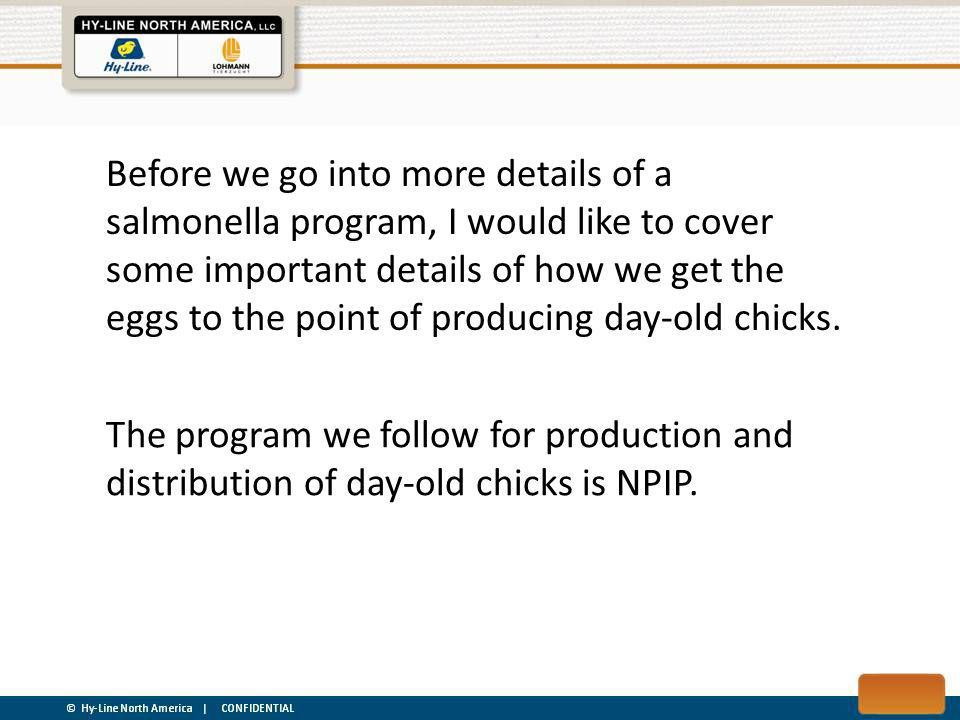 Before we go into more details of a salmonella program, I would like to cover some important details of how we get the eggs to the point of producing day-old chicks.