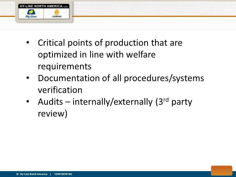 Critical points of production that are optimized in line with welfare requirements Documentation of all procedures/systems verification Audits – internally/externally (3 rd party review)