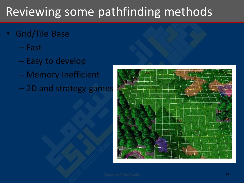 Grid/Tile Base – Fast – Easy to develop – Memory Inefficient – 2D and strategy games Reviewing some pathfinding methods 36Fanafzar Game Studio