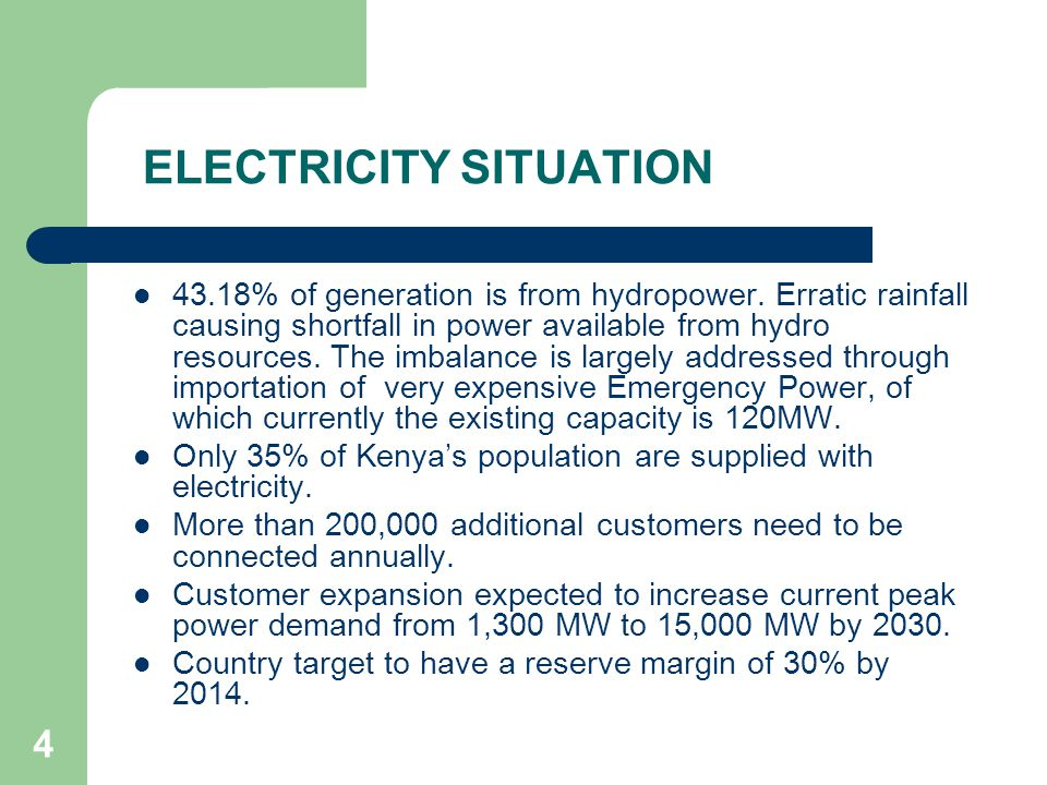 4 ELECTRICITY SITUATION 43.18% of generation is from hydropower.