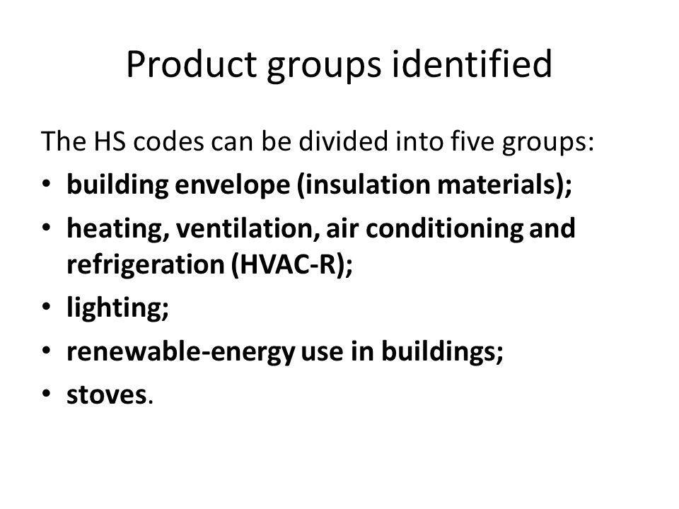 Product groups identified The HS codes can be divided into five groups: building envelope (insulation materials); heating, ventilation, air conditioning and refrigeration (HVAC-R); lighting; renewable-energy use in buildings; stoves.