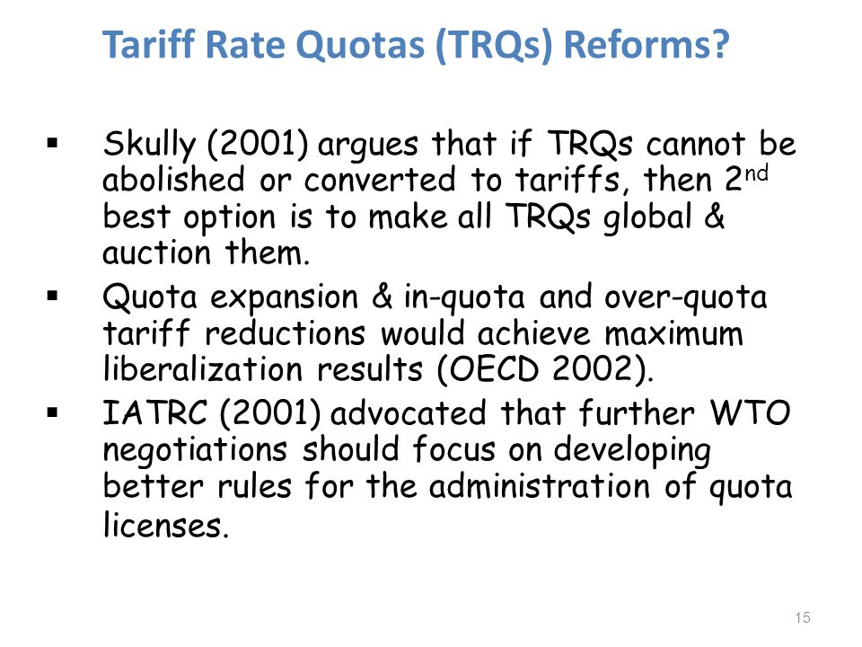 Tariff Rate Quotas (TRQs) Reforms.