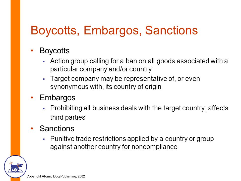 Copyright Atomic Dog Publishing, 2002 Boycotts, Embargos, Sanctions Boycotts Action group calling for a ban on all goods associated with a particular company and/or country Target company may be representative of, or even synonymous with, its country of origin Embargos Prohibiting all business deals with the target country; affects third parties Sanctions Punitive trade restrictions applied by a country or group against another country for noncompliance