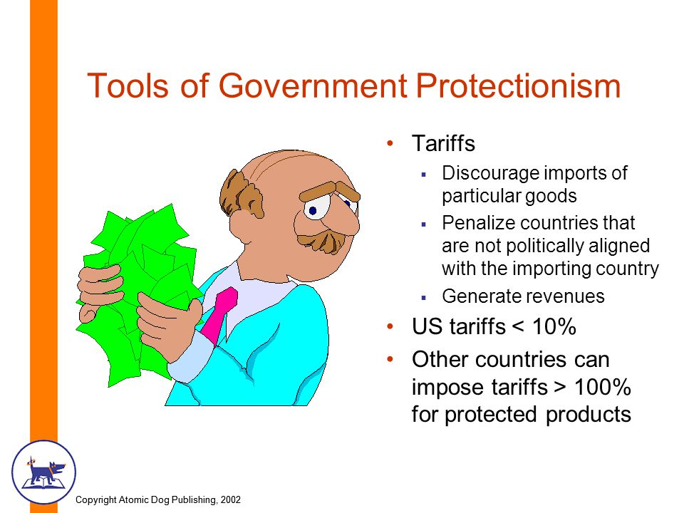 Copyright Atomic Dog Publishing, 2002 Tools of Government Protectionism Tariffs Discourage imports of particular goods Penalize countries that are not politically aligned with the importing country Generate revenues US tariffs < 10% Other countries can impose tariffs > 100% for protected products