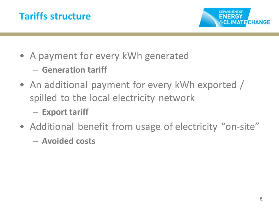 Tariffs structure A payment for every kWh generated –Generation tariff An additional payment for every kWh exported / spilled to the local electricity network –Export tariff Additional benefit from usage of electricity on-site –Avoided costs 5