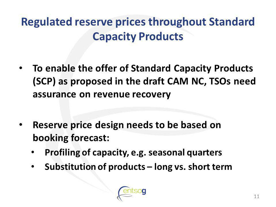 Regulated reserve prices throughout Standard Capacity Products To enable the offer of Standard Capacity Products (SCP) as proposed in the draft CAM NC, TSOs need assurance on revenue recovery Reserve price design needs to be based on booking forecast: Profiling of capacity, e.g.