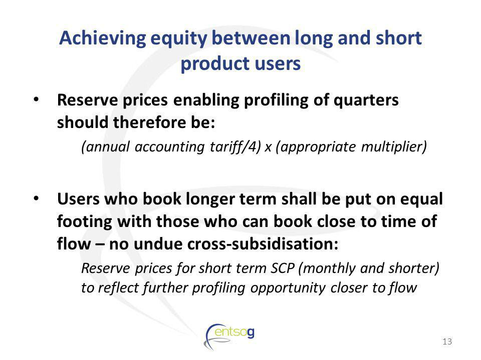 Achieving equity between long and short product users Reserve prices enabling profiling of quarters should therefore be: (annual accounting tariff/4) x (appropriate multiplier) Users who book longer term shall be put on equal footing with those who can book close to time of flow – no undue cross-subsidisation: Reserve prices for short term SCP (monthly and shorter) to reflect further profiling opportunity closer to flow 13