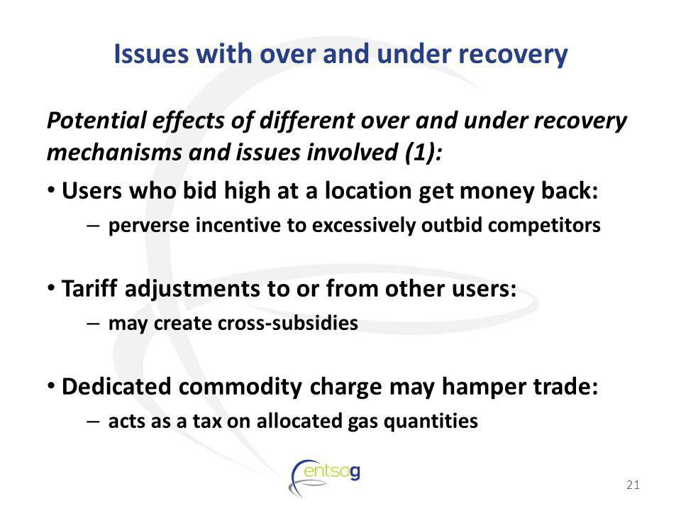 Issues with over and under recovery Potential effects of different over and under recovery mechanisms and issues involved (1): Users who bid high at a location get money back: – perverse incentive to excessively outbid competitors Tariff adjustments to or from other users: – may create cross-subsidies Dedicated commodity charge may hamper trade: – acts as a tax on allocated gas quantities 21