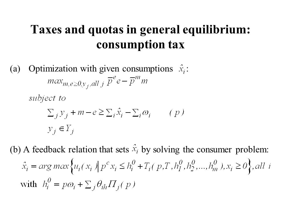 Taxes and quotas in general equilibrium: consumption tax (a)Optimization with given consumptions : (b) A feedback relation that sets by solving the consumer problem: