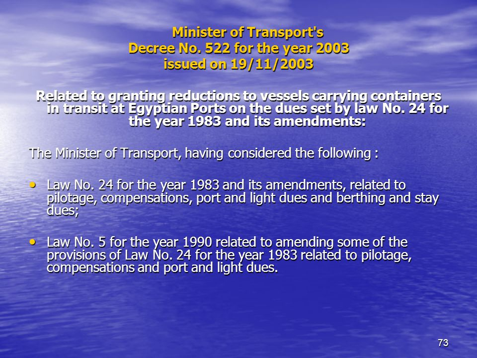 73 Minister of Transport s Decree No.