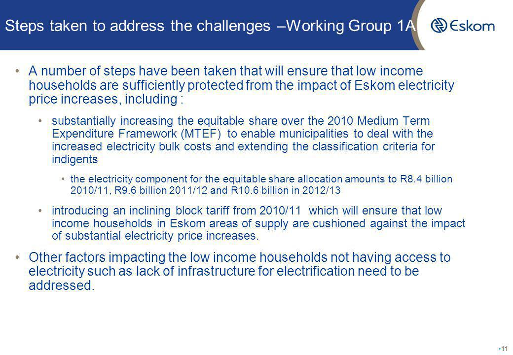 Steps taken to address the challenges –Working Group 1A A number of steps have been taken that will ensure that low income households are sufficiently protected from the impact of Eskom electricity price increases, including : substantially increasing the equitable share over the 2010 Medium Term Expenditure Framework (MTEF) to enable municipalities to deal with the increased electricity bulk costs and extending the classification criteria for indigents the electricity component for the equitable share allocation amounts to R8.4 billion 2010/11, R9.6 billion 2011/12 and R10.6 billion in 2012/13 introducing an inclining block tariff from 2010/11 which will ensure that low income households in Eskom areas of supply are cushioned against the impact of substantial electricity price increases.