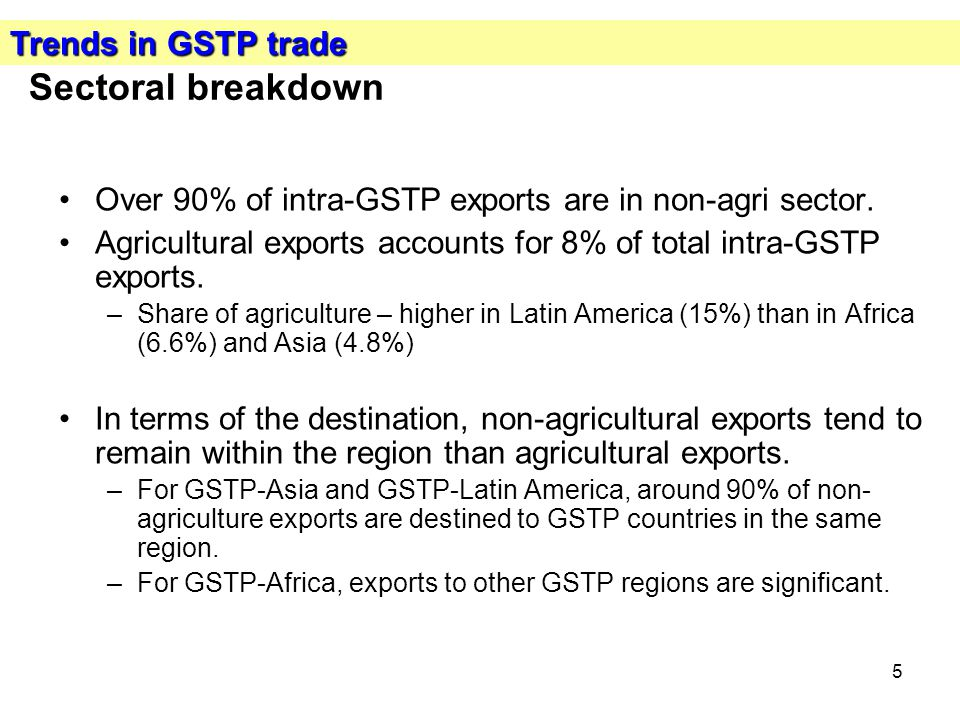 5 Sectoral breakdown Over 90% of intra-GSTP exports are in non-agri sector.