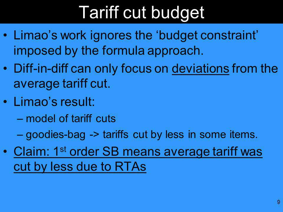 9 Tariff cut budget Limaos work ignores the budget constraint imposed by the formula approach.