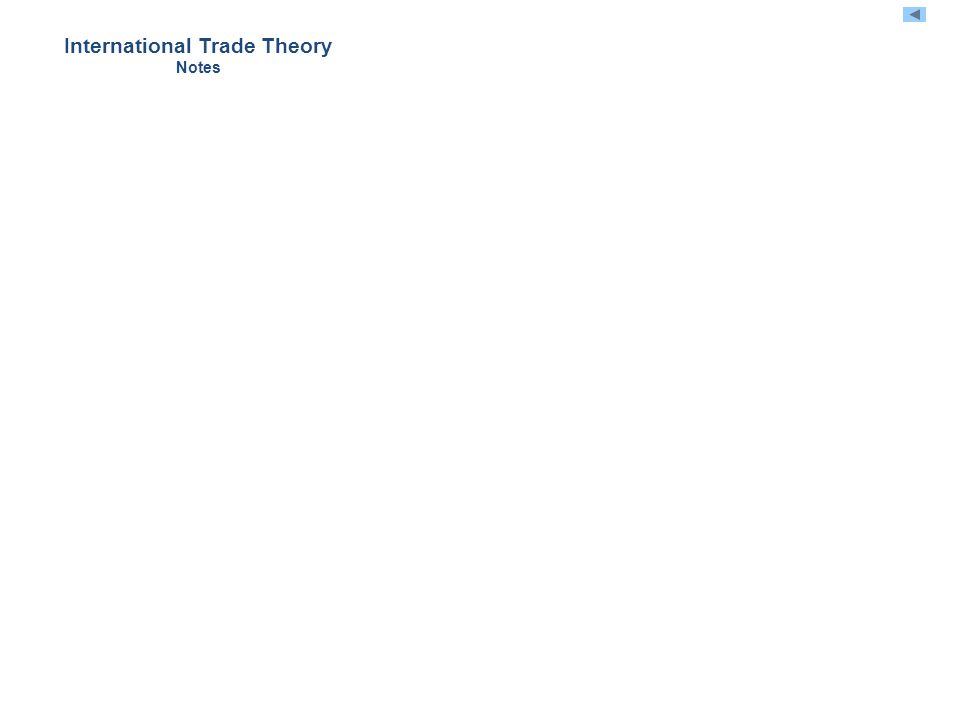 International Trade Theory Notes