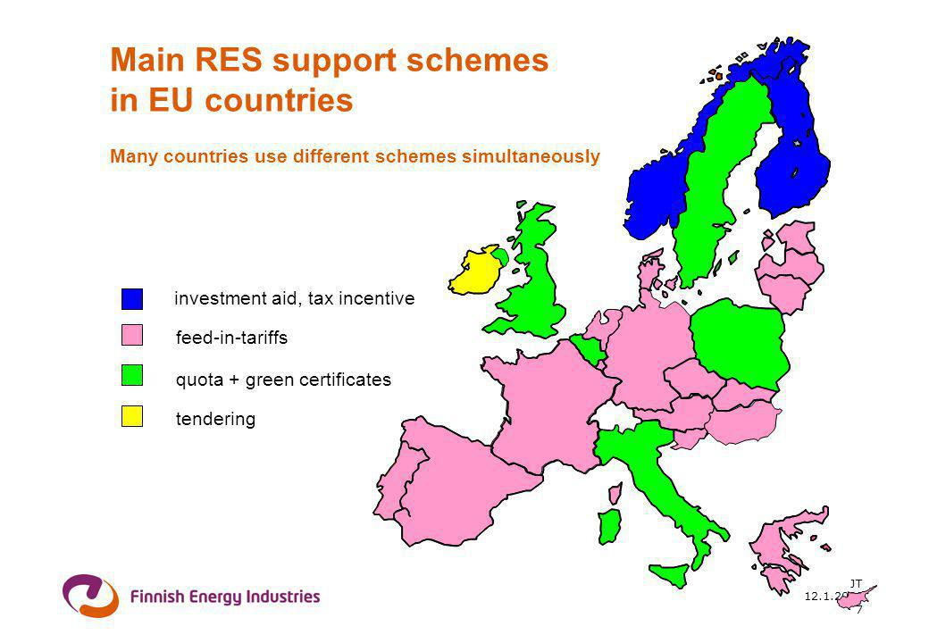 12.1.2006 JT 7 Main RES support schemes in EU countries Many countries use different schemes simultaneously feed-in-tariffs tendering quota + green certificates investment aid, tax incentive