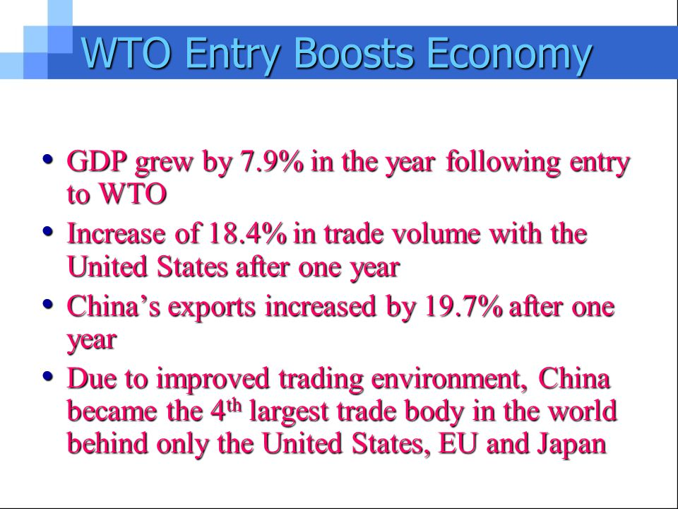 Accession to the World Trade Organization, China should carry out the corresponding obligations obligations Reduction of tariffs and non-tariff regulation measures, and gradually open up the services market to expand; Reduction of tariffs and non-tariff regulation measures, and gradually open up the services market to expand; In goods, services, intellectual property rights, in accordance with WTO rules, to the other members of MFN, national treatment; In goods, services, intellectual property rights, in accordance with WTO rules, to the other members of MFN, national treatment; According to the Intellectual Property Agreement stipulates further regulate intellectual property protection; According to the Intellectual Property Agreement stipulates further regulate intellectual property protection; Regulate trade in goods for foreign investment; Regulate trade in goods for foreign investment;