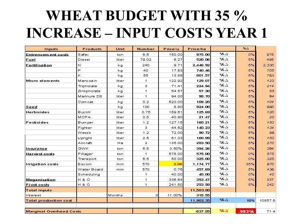 WHEAT BUDGET WITH 35 % INCREASE – INPUT COSTS YEAR 1