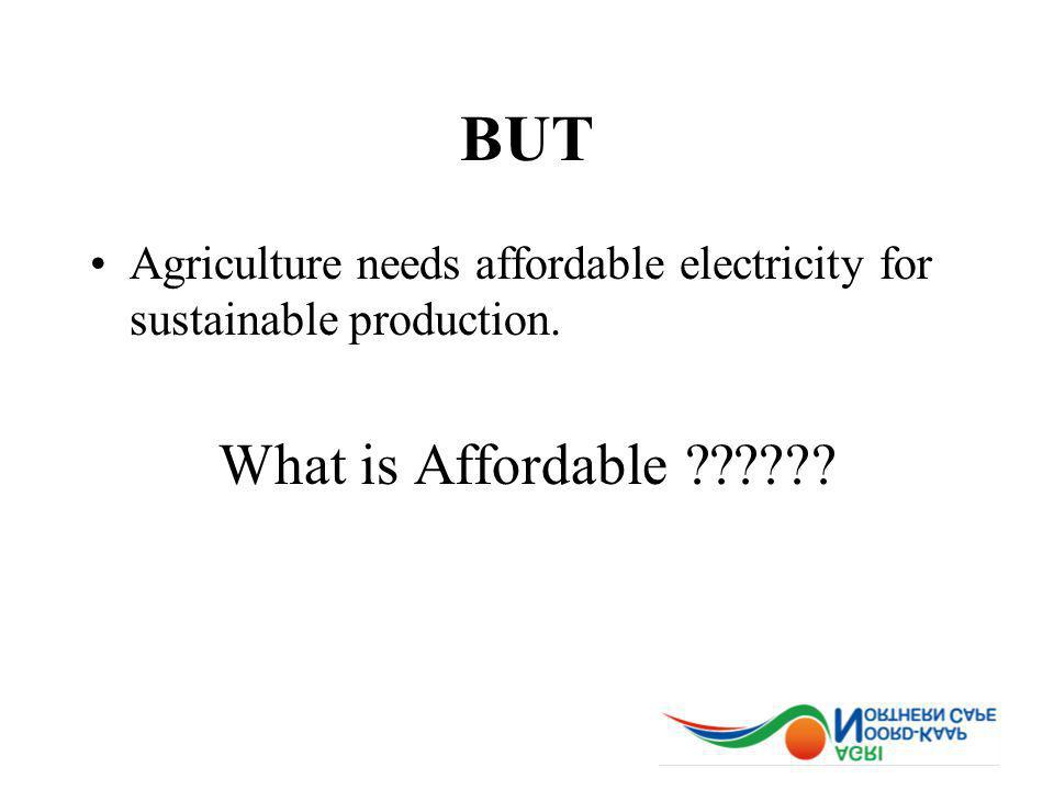 BUT Agriculture needs affordable electricity for sustainable production. What is Affordable
