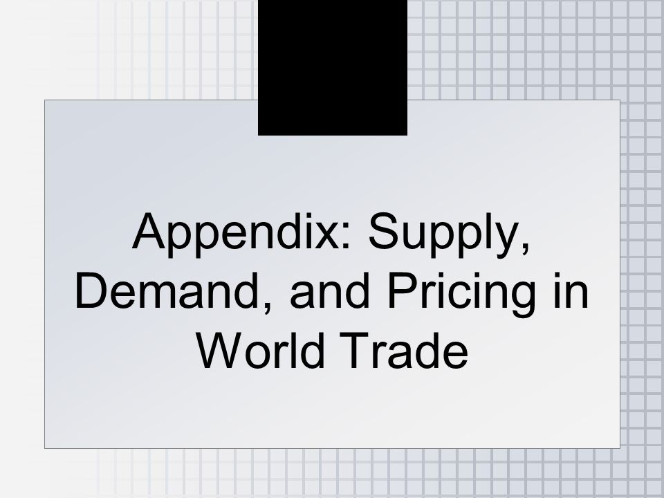 Appendix: Supply, Demand, and Pricing in World Trade
