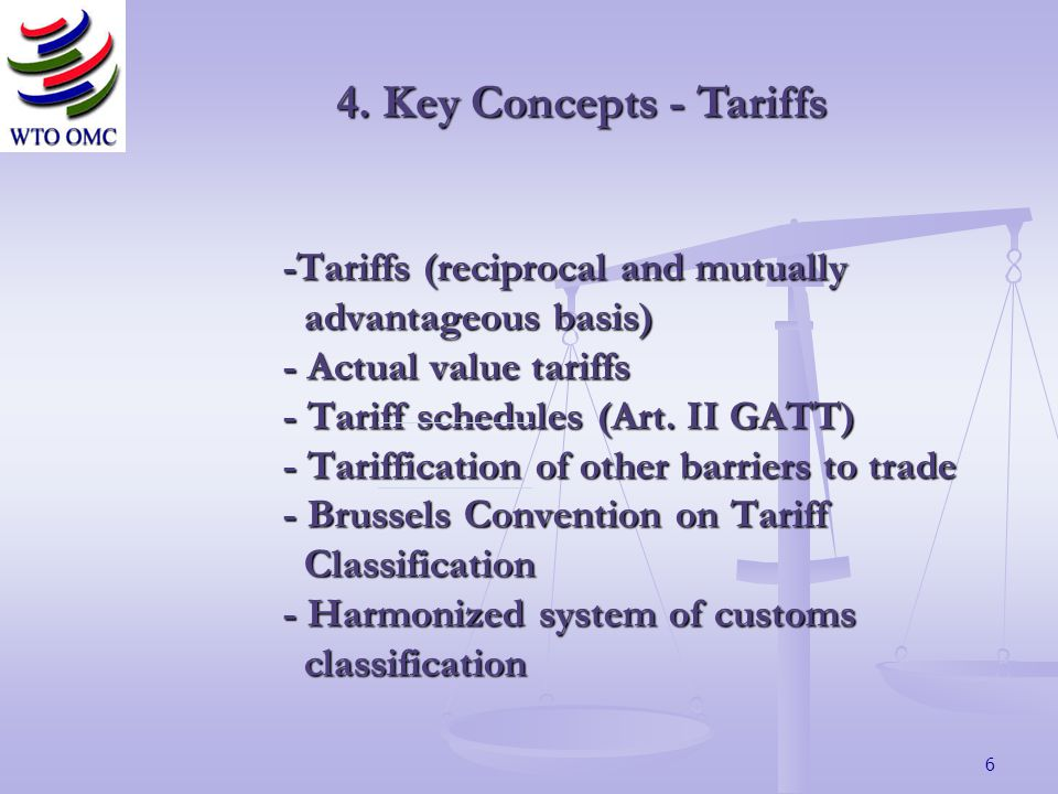 6 -Tariffs (reciprocal and mutually advantageous basis) - Actual value tariffs - Tariff schedules (Art.