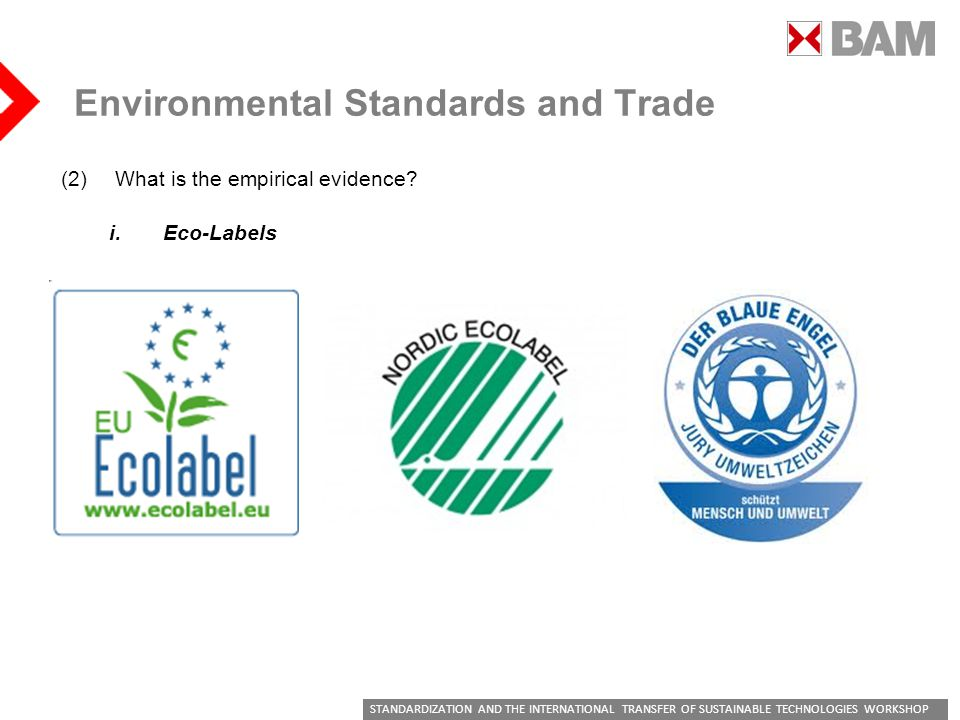 STANDARDIZATION AND THE INTERNATIONAL TRANSFER OF SUSTAINABLE TECHNOLOGIES WORKSHOP Environmental Standards and Trade (2)What is the empirical evidence.