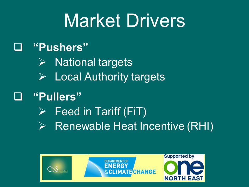 Market Drivers Pushers National targets Local Authority targets Pullers Feed in Tariff (FiT) Renewable Heat Incentive (RHI)