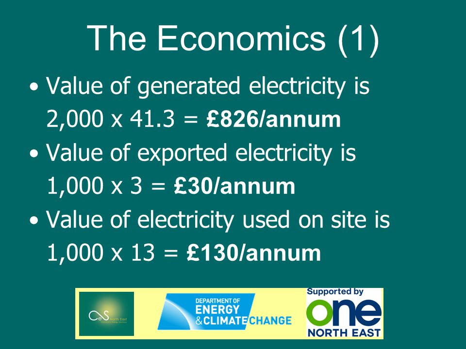 The Economics (1) Value of generated electricity is 2,000 x 41.3 = £826/annum Value of exported electricity is 1,000 x 3 = £30/annum Value of electricity used on site is 1,000 x 13 = £130/annum