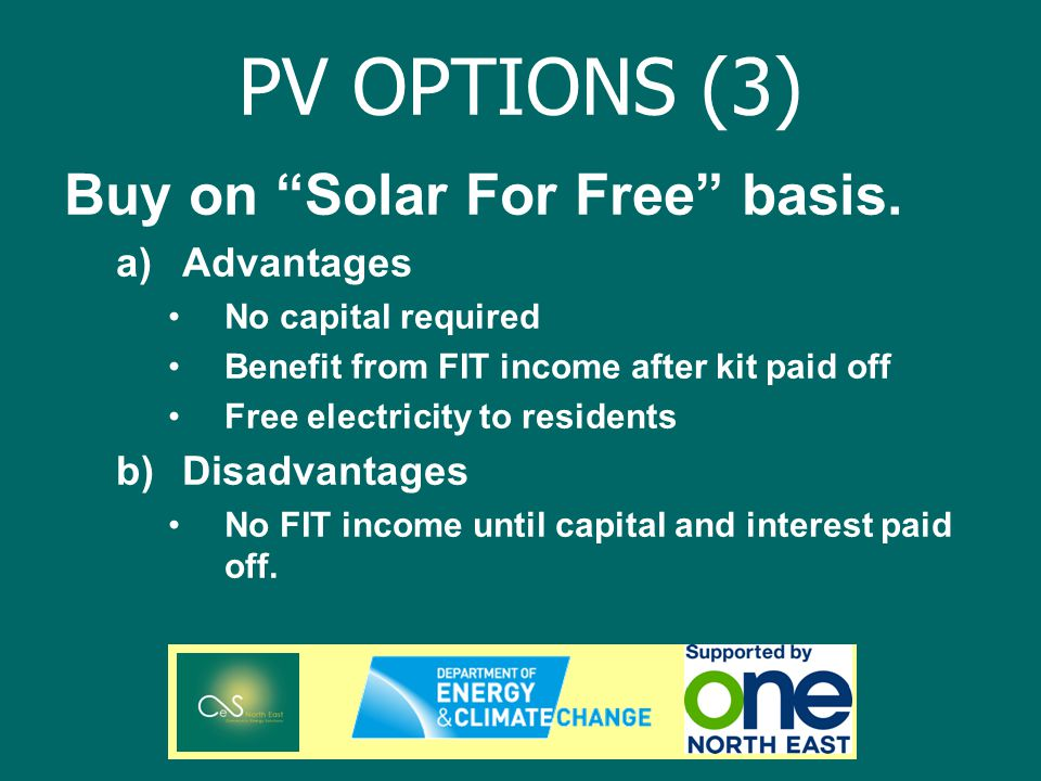 PV OPTIONS (3) Buy on Solar For Free basis.