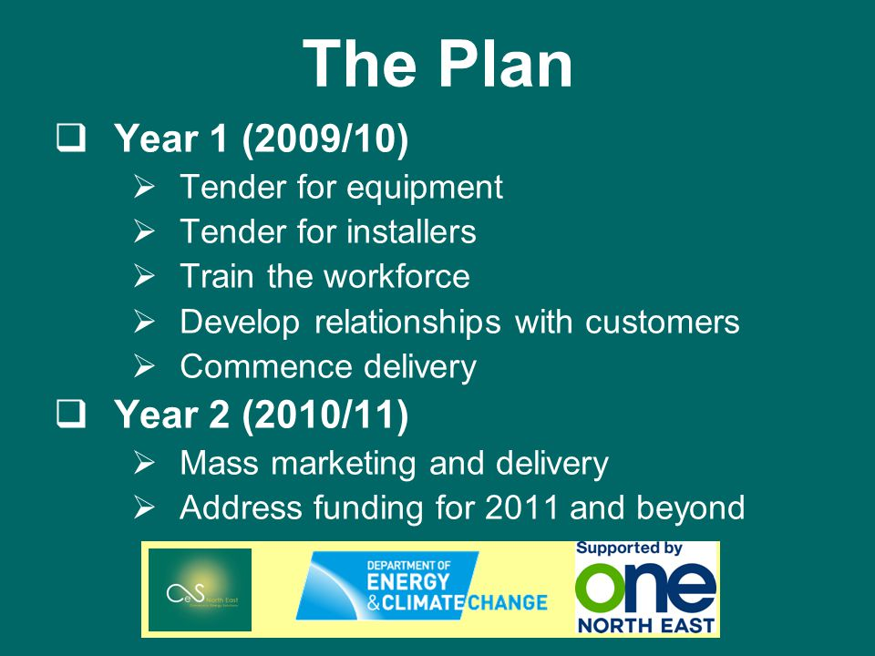The Plan Year 1 (2009/10) Tender for equipment Tender for installers Train the workforce Develop relationships with customers Commence delivery Year 2 (2010/11) Mass marketing and delivery Address funding for 2011 and beyond