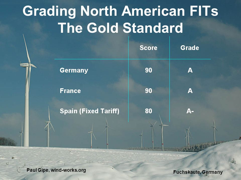 Grading North American FITs The Gold Standard Fuchskaute, Germany Paul Gipe, wind-works.org
