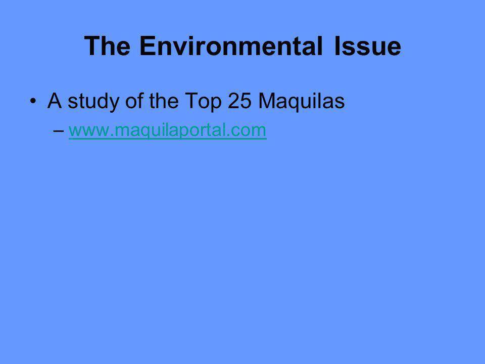 The Environmental Issue A study of the Top 25 Maquilas –www.maquilaportal.comwww.maquilaportal.com