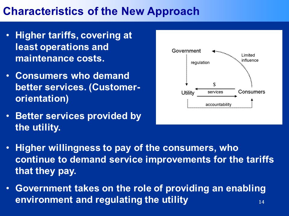 14 Characteristics of the New Approach Higher tariffs, covering at least operations and maintenance costs.