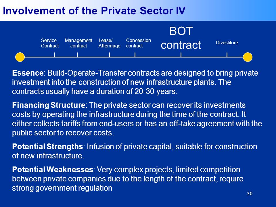 30 Essence: Build-Operate-Transfer contracts are designed to bring private investment into the construction of new infrastructure plants.