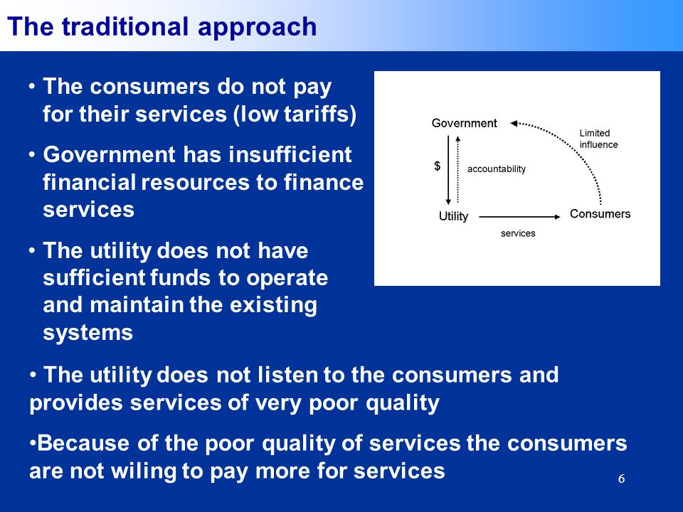 6 The traditional approach The consumers do not pay for their services (low tariffs) Government has insufficient financial resources to finance services The utility does not have sufficient funds to operate and maintain the existing systems The utility does not listen to the consumers and provides services of very poor quality Because of the poor quality of services the consumers are not wiling to pay more for services