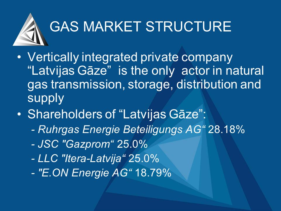 GAS MARKET STRUCTURE Vertically integrated private companyLatvijas Gāze is the only actor in natural gas transmission, storage, distribution and supply Shareholders of Latvijas Gāze: - Ruhrgas Energie Beteiligungs AG 28.18% - JSC Gazprom 25.0% - LLC Itera-Latvija 25.0% - E.ON Energie AG 18.79%