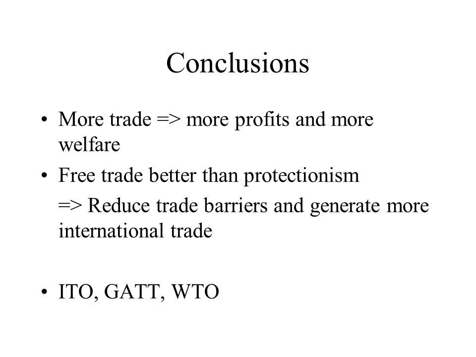 Conclusions More trade => more profits and more welfare Free trade better than protectionism => Reduce trade barriers and generate more international trade ITO, GATT, WTO