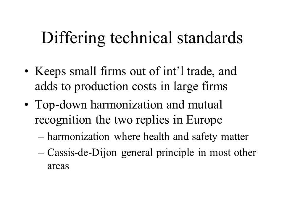 Differing technical standards Keeps small firms out of intl trade, and adds to production costs in large firms Top-down harmonization and mutual recognition the two replies in Europe –harmonization where health and safety matter –Cassis-de-Dijon general principle in most other areas