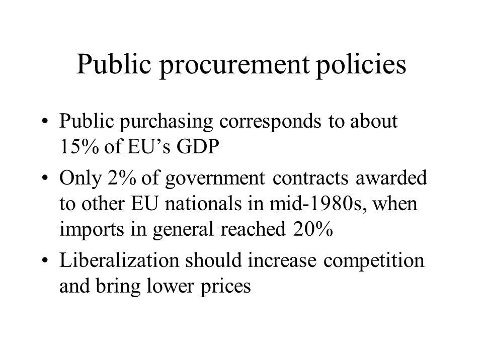 Public procurement policies Public purchasing corresponds to about 15% of EUs GDP Only 2% of government contracts awarded to other EU nationals in mid-1980s, when imports in general reached 20% Liberalization should increase competition and bring lower prices