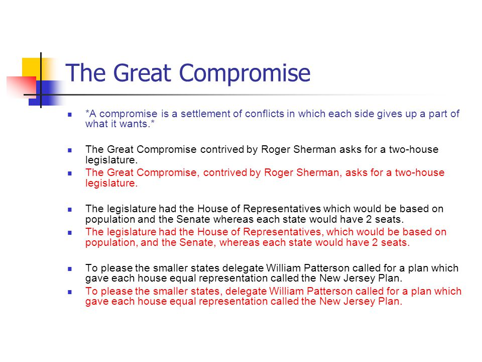 The Great Compromise *A compromise is a settlement of conflicts in which each side gives up a part of what it wants.* The Great Compromise contrived by Roger Sherman asks for a two-house legislature.