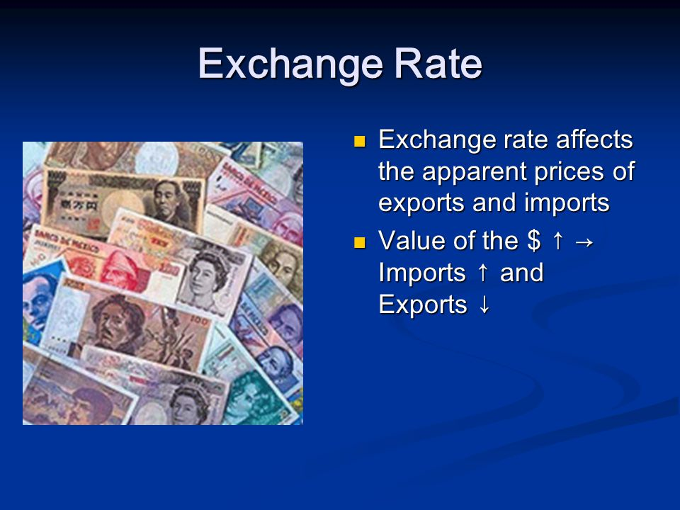 Exchange Rate Exchange rate affects the apparent prices of exports and imports Value of the $ Imports and Exports