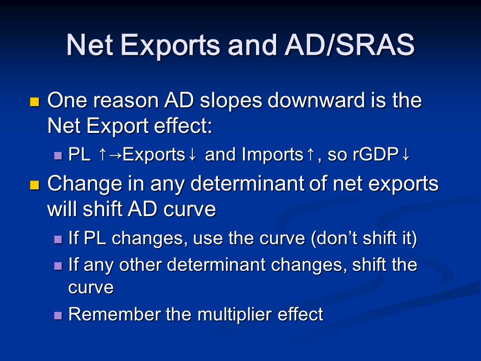Net Exports and AD/SRAS One reason AD slopes downward is the Net Export effect: One reason AD slopes downward is the Net Export effect: PL Exports and Imports, so rGDP PL Exports and Imports, so rGDP Change in any determinant of net exports will shift AD curve Change in any determinant of net exports will shift AD curve If PL changes, use the curve (dont shift it) If PL changes, use the curve (dont shift it) If any other determinant changes, shift the curve If any other determinant changes, shift the curve Remember the multiplier effect Remember the multiplier effect