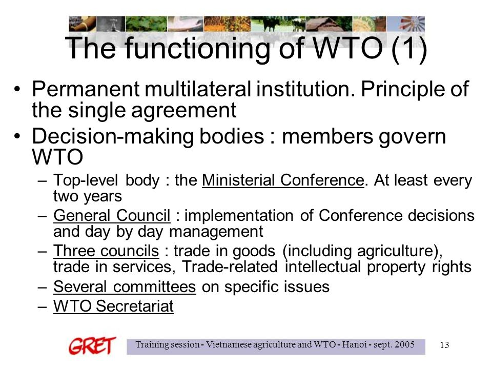 Training session - Vietnamese agriculture and WTO - Hanoi - sept.