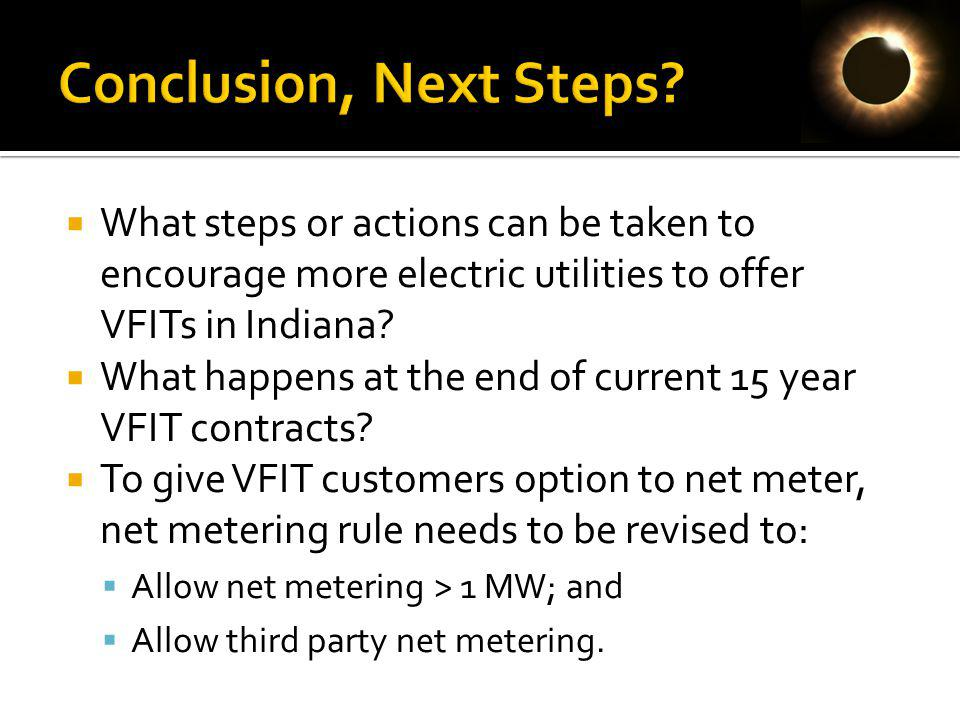 What steps or actions can be taken to encourage more electric utilities to offer VFITs in Indiana.