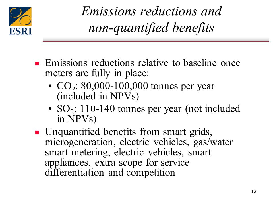 13 Emissions reductions and non-quantified benefits n n Emissions reductions relative to baseline once meters are fully in place: CO 2 : 80,000-100,000 tonnes per year (included in NPVs) SO 2 : 110-140 tonnes per year (not included in NPVs) n n Unquantified benefits from smart grids, microgeneration, electric vehicles, gas/water smart metering, electric vehicles, smart appliances, extra scope for service differentiation and competition