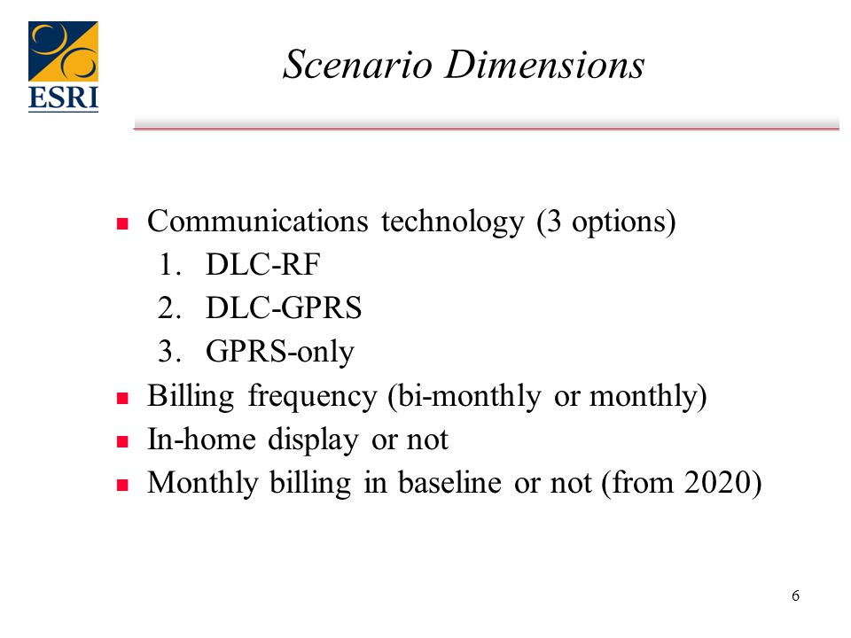 6 Scenario Dimensions n n Communications technology (3 options) 1.