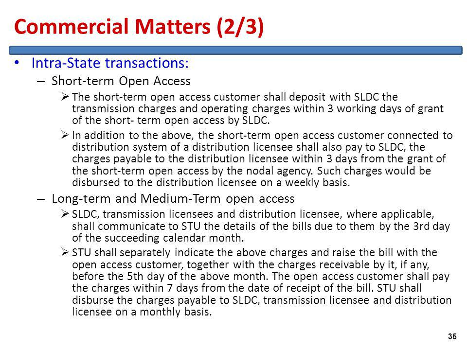 Commercial Matters (2/3) Intra-State transactions: – Short-term Open Access The short-term open access customer shall deposit with SLDC the transmission charges and operating charges within 3 working days of grant of the short- term open access by SLDC.