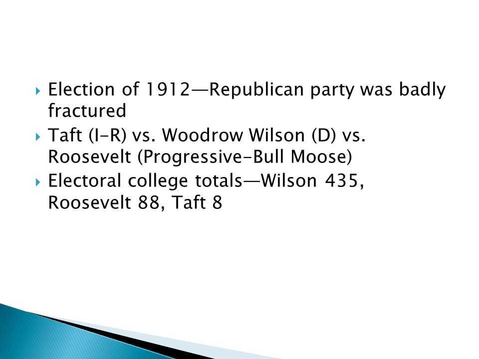 Election of 1912Republican party was badly fractured Taft (I-R) vs.